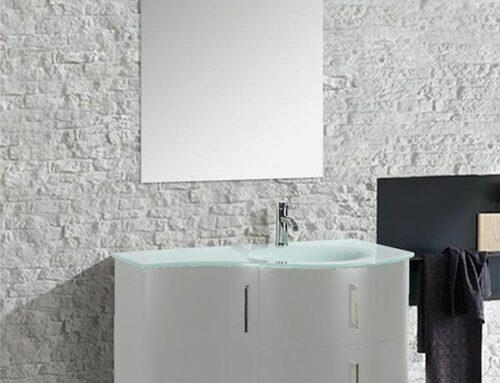 Mobile arredo bagno moderno Kursal sospeso bianco (destro)
