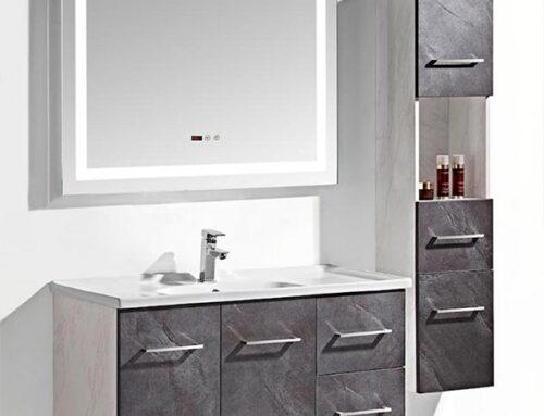 Set mobile arredo bagno Istambul grigio antracite + colonna laterale