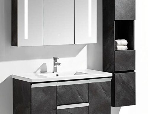 Set mobile bagno Venice Stone grigio antracite + colonna
