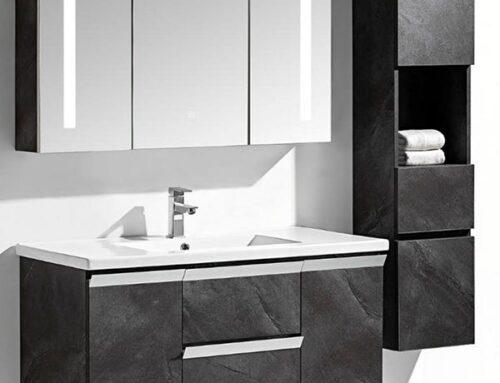 Set mobile bagno sospeso Venice Stone grigio antracite + colonna